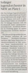 Solinger Jugendorchester in NRW auf Platz 1