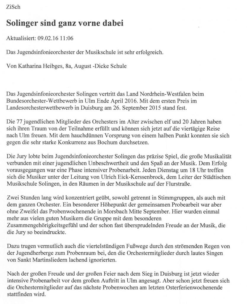 Solinger sind ganz vorne dabei - ZiSch Katharina Heibges